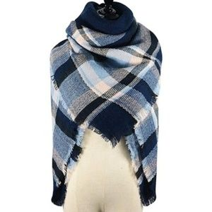 Accessories - NWT Blanket Scarf 55 x 55 In Navy Pink Blue Check